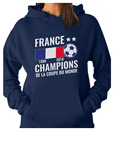 Tstars - France National Soccer Team Fans 2018 Champions Women Hoodie Small Blue ()