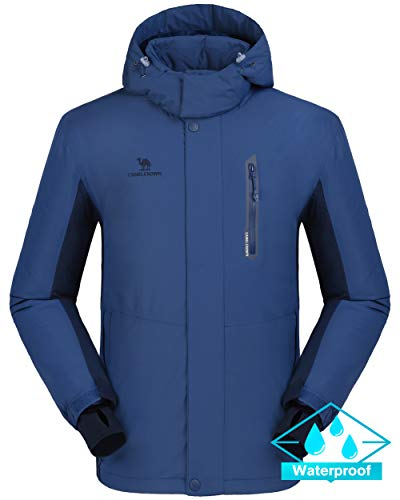 CAMEL CROWN Ski Jacket Men Waterproof Warm Cotton Winter Snow Coat Mountain Snowboard Windbreaker Hooded Raincoat Blue L