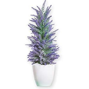 Faux Lavender Tree in White Pot, Purple 4