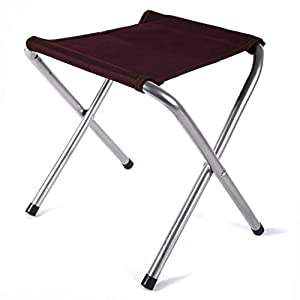 "Vrcoco Outdoor Oxford Cloth Fishing Chair Lightweight Aluminum Alloy Folding Portable Stool for Beach BBQ Camping Hiking Traveling,12.6""x11.8""x14.17""(1pc,Purple)"