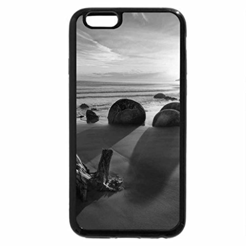 iPhone 6S Plus Case, iPhone 6 Plus Case (Black & White) - sunrise on a new zealand beach