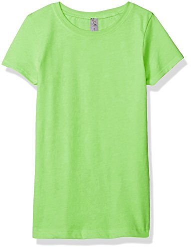 Light Green Girls - Clementine Apparel Girls' Little Everyday T-Shirt, Neon Green XL