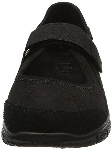 Hotter tiefschwarz Mujer Velcro Zapatillas Auraxs Con Negro Scw46rzAqS