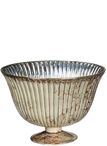 Sullivans Antique Ribbed Glass Compote Vase, 12 Inches High, Copper/Antique Grey (G6524) by Sullivans