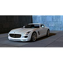 LAMINATED 47x24 Poster: Amg Mercedes Sls Sports Car Autos Automobile Racing Car Contour Metallic Sun Reflections Shadow Hall Stone Wall Monochrome 3D 3D Model Computer Graphics Machine