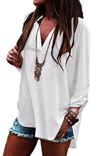 Mupoduvos Haut Occasionnelles Bureau T Plaine Haut Lache Shirt White Manches Les en V Longues XXL Col wYqSIrYX