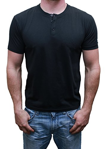 Mens Henley Short Sleeve Buttons