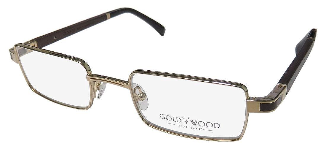Gold /& Wood Matar-B Mens Rectangular Full-rim Wood Spring Hinges Genuine Eyeglasses//Eye Glasses
