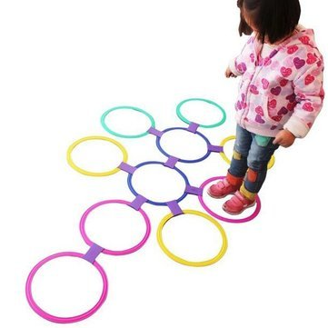 (Jumping Ring For Kids - Circle Jump Ring - Kids Outdoor Jumping Ring Games with Friends Preschool Teaching Aid Sport Toy Hopscotch Jump to the Grid Children Sensory - L (Jumping Circles Kids))