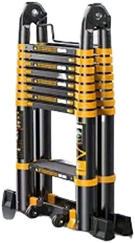 はしご アルミ台 伸縮はしご ブラックアルミ製伸縮式梯子、多目的折りたたみ梯子エンジニアリングのためのポータブル変形可能な拡張はしご 便座とフレーム (Size, Style4),Style4
