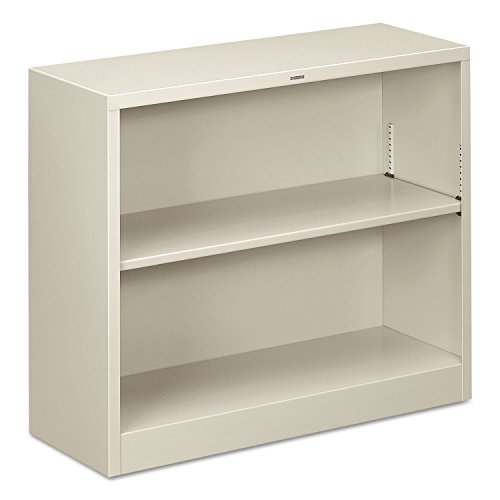 - HON Metal Bookcase  - Bookcase with  Two Shelves,  34-1/2w x 12-5/8d x 29h, Light Gray  (HHS30ABC)