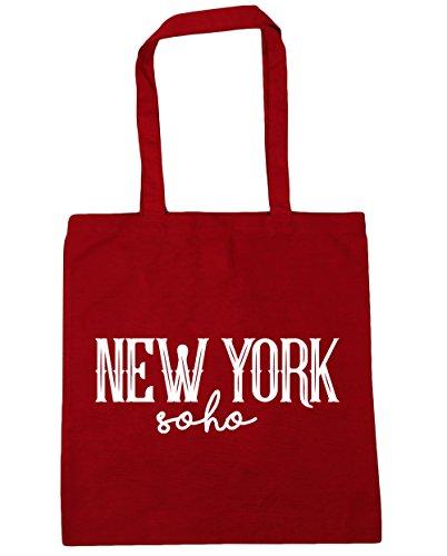 HippoWarehouse New York Soho Einkaufstasche Fitnessstudio Strandtasche 42cm x38cm, 10 liter - Klassisch Rot, One size