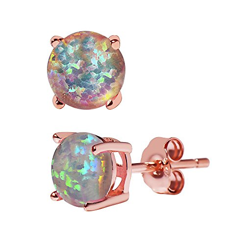 (Womens 6mm Sterling Silver Created Opal Stud earrings - Basket Setting many colors available (White, rose-gold-flashed-silver))