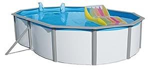 Steinbach Acero Pared Pool Set Nuovo de Luxe Duo Ovalado, Color Blanco, 730x 366x 120cm, 28400L, 011264