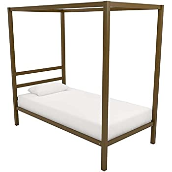 DHP Modern Canopy Bed with Built-in Headboard Classic Design Twin Size Gold  sc 1 st  Amazon.com & Amazon.com: DHP Canopy Bed with Sturdy Metal Frame Twin Size ...
