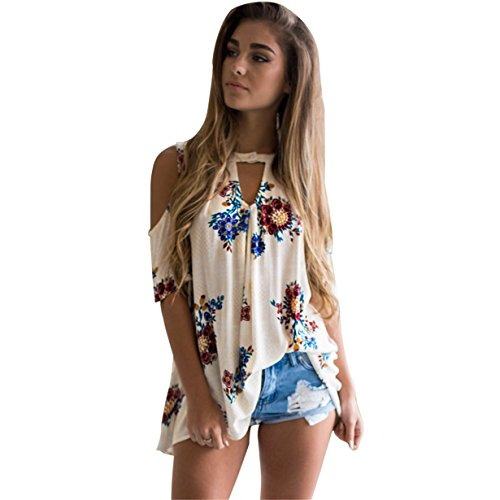 KuoShun Clearance Women's Crew Neck Short Sleeve Tops Flower Printed Casual Shirt Tee (S, White B) (Jean Shorts For Teens)