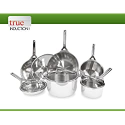 True Induction TIGOURMET 10-piece Tri-ply Stainless Steel Induction Cookware Set (Pack of 10)