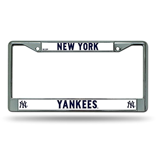 New York Yankees Official MLB 12 inch x 6 inch Chrome License Plate Frame by Rico Industries