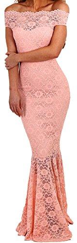 YeeATZ Women's Elegant Pink Bardot Lace Fishtail Maxi Party - Gaga Lady Mickey Mouse