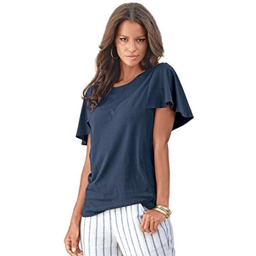 4409a0dc96091 Roamans Women s Plus Size Ruffle Sleeve Tee 80%OFF - www ...