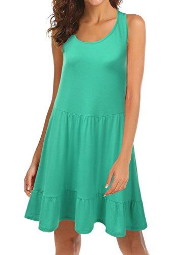 Doublju Womens Loose Fit Sleeveless Ruffle Hem Dress with Plus Size (Made in USA) Aqua 1X