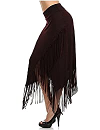 Fringe Maxi Skirt cross over mineral washed (large, burgundy)