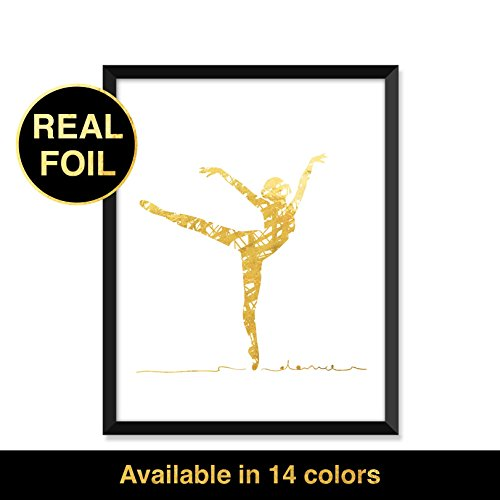Gold Foil Print, Abstract Ballerina, typography, home decor, real gold foil, inspirational quote art print, quotes print, modern