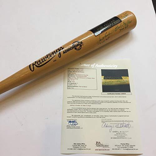 Sandy Koufax 4 No Hitters Nolan Ryan 5 No Hitters Bob Feller Autographed Signed Memorabilia Bat JSA COA Bob Feller No Hitters