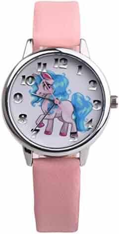 Girls Boys Watch Cute Cartoon Unicorn Analog Display Faux Leather Quartz Wrist Watch Kids Xmas Gifts