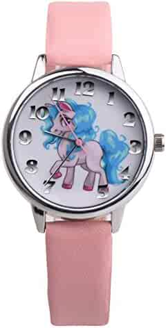 Girls Boys Watch Cute Cartoon Unicorn Analog Display Faux Leather Quartz Wrist Watch Kids Xmas Gifts
