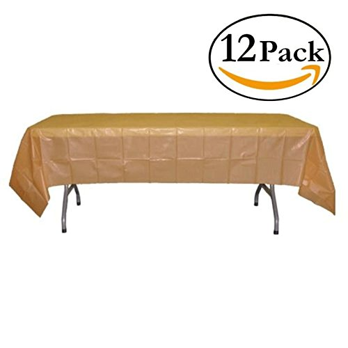 Heavy Duty Plastic Tablecloth Set, Round or Rectangular