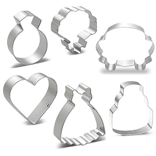 WOTOY Wedding Theme Cookie Fruit Cutter Set - 6 Pieces Rust-proof Stainless Steel Biscuit Cutters(Wedding Dress, Wedding Car, Wedding Ring, Heart,Cake, Bouquet)