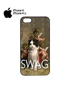 Royal Kitten Swag Angels Meow Jesus Cell Phone Case Cover iPhone 4&4s Black