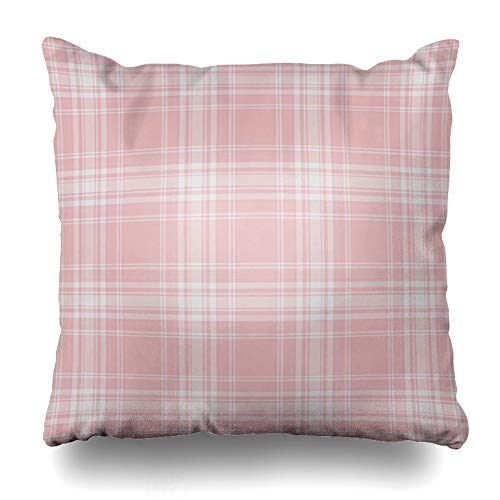 Pink Plaid Announcement - Ahawoso Throw Pillow Cover Pastel Pink Plaid Abstract Pattern Birthday Tartan Stripe Announcement Baby Birth Home Decor Cushion Case Square Size 16 x 16 Inches Zippered Pillowcase