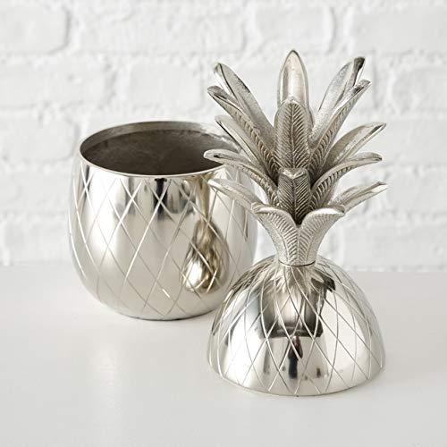 Home Collection Metall Dose Deko-Dose Ananas H36cm Silber Aluminium