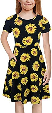 GORLYA Girl's Short Sleeve Floral Print Casual Fit and Flare Party Dress with Pockets 4-12 Years