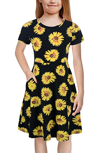 GORLYA Girl's Short Sleeve Floral Print Casual Fit and Flare Party Dress with Pockets 4-12 Years (GA1002, 9-10Y, Black Print) -