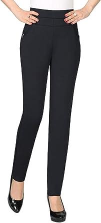Kindoyo Mujer Pantalones De Largo Elastico Alta Cintura Pantalon Ancho De Pierna Para Trabajo Oficina Fiesta Amazon Es Ropa Y Accesorios