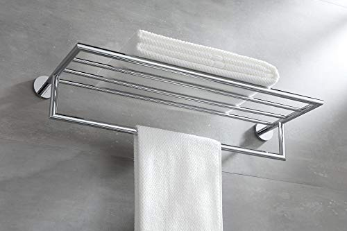 - BUVELOT 077100-CR Leo Brass Towel Rack Bathroom Towel Shelf with Bar Modern,Chrome