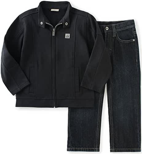 Calvin Klein Boys' Zip-Front Jacket with Jeans Pants Set