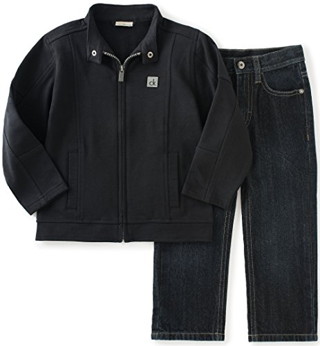Pant Set Black Denim (Calvin Klein Little Boys' Toddler Zip Front Jacket with Jeans Pants Set, Black,)