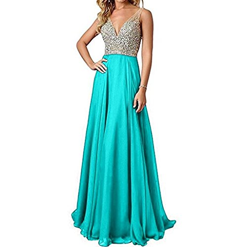 Kevins Bridal Deep V-Neck Chiffon Bridesmaid Dresses Beaded Long Evening Gowns Turquoise Size 2 ()