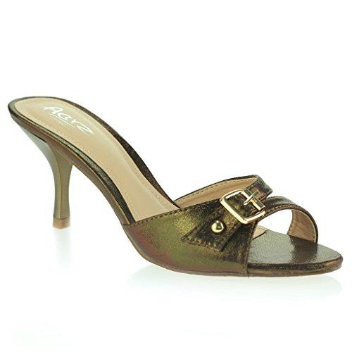 Mujeres Señoras Hebilla Embellecido Punta Abierta Delgado Tacón Medio Fiesta Casual Sandalias Zapatos Talla marrón