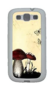 Butterflies Mushrooms Custom TPU Rubber Soft Case and Cover for Samsung Galaxy S3 /S III White