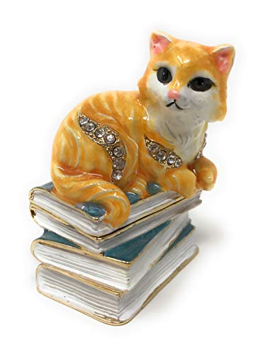 (Kubla Crafts Enameled Orange Kitty Cat with Books Trinket Box, Accented with Austrian Crystals, 2 Inches Tall)