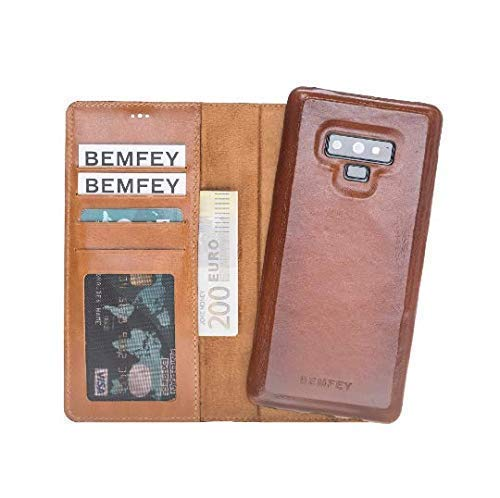 save off c1332 bb2f1 BEMFEY Magnetic Detachable Handmade Genuine Brown Leather ...