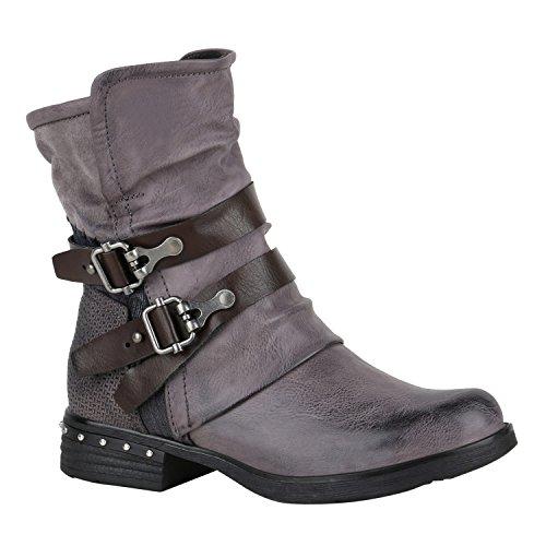 f750813d82c3c0 Stiefelparadies Damen Schuhe Biker Boots Winter Plateau Booties Gefütterte  Stiefel Nieten Flandell Grau Nieten Agueda Nieten