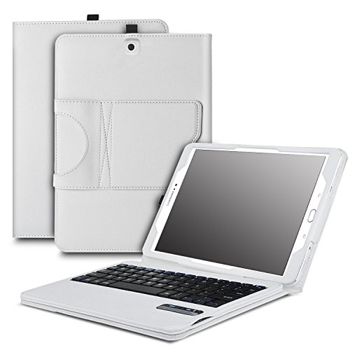 IVSO Samsung Galaxy Tab S3 9.7 Keyboard case - Ultra-Thin DETACHABLE Bluetooth Keyboard Stand Case / Cover for Samsung Galaxy Tab S3 9.7-Inch Tablet w/ S Pen SM-T820/SM-825(White)