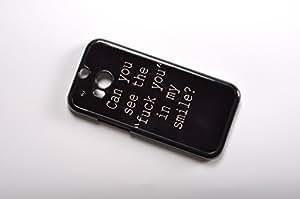 """FBA 2 regalo de Navidad * case por HTC ONE M8 Can you see the """"fuck you"""" in my smile ? * negro funda"""