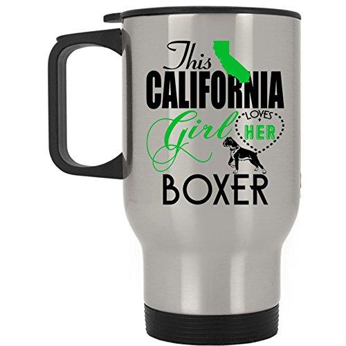 California Boxer Girl - Funny Boxer Lovers Travel Mug, This California Girl Loves Her Boxer Mug (Travel Mug - Silver)
